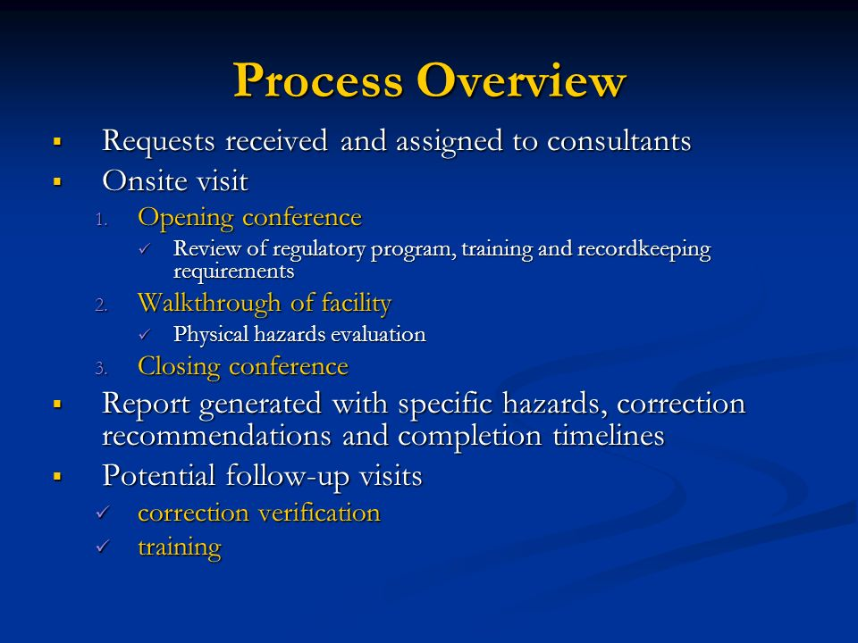 Process Overview Requests received and assigned to consultants