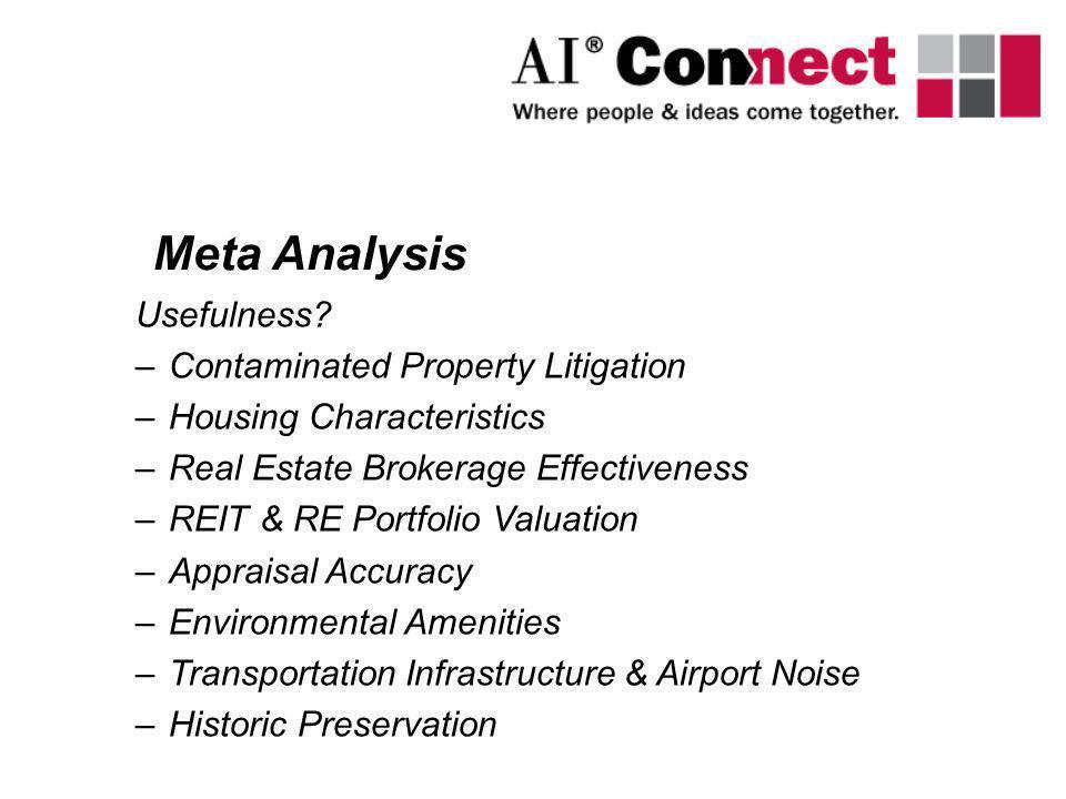 Meta Analysis Usefulness Contaminated Property Litigation
