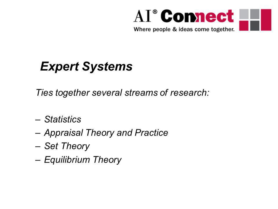 Expert Systems Ties together several streams of research: Statistics