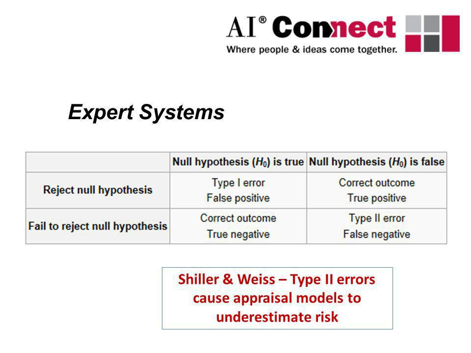 Expert Systems Shiller & Weiss – Type II errors cause appraisal models to underestimate risk