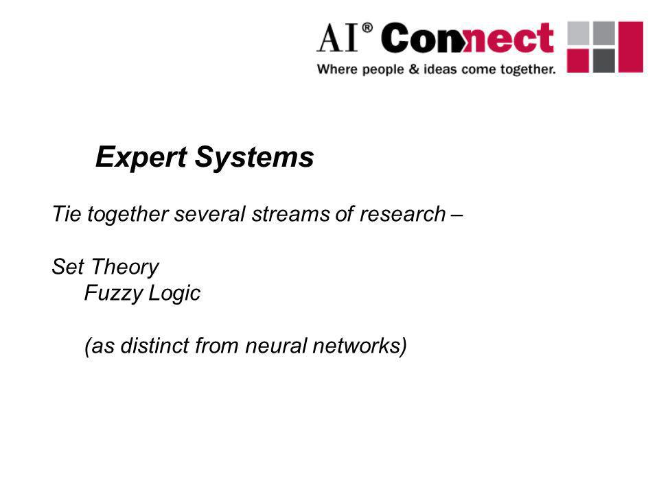 Expert Systems Tie together several streams of research – Set Theory