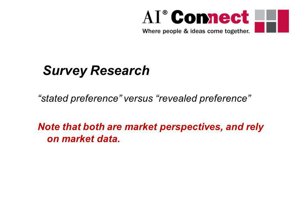 Survey Research stated preference versus revealed preference
