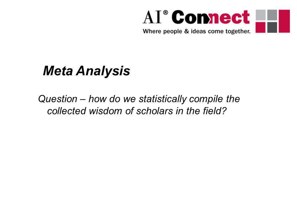 Meta Analysis Question – how do we statistically compile the collected wisdom of scholars in the field