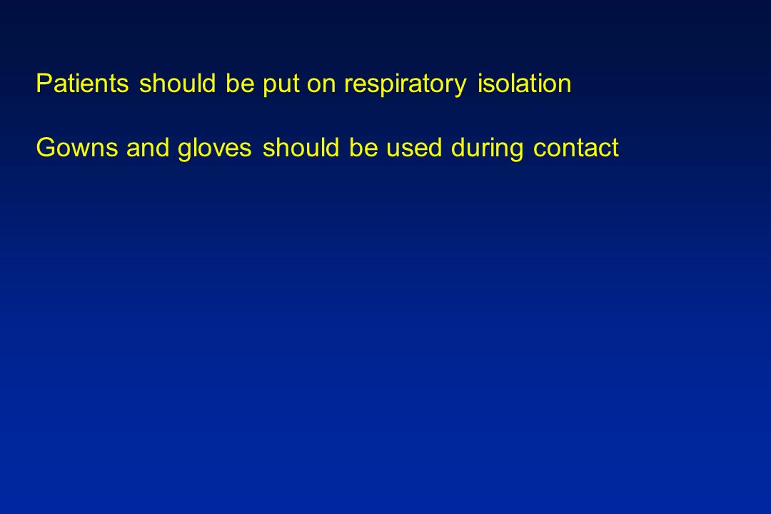 Patients should be put on respiratory isolation