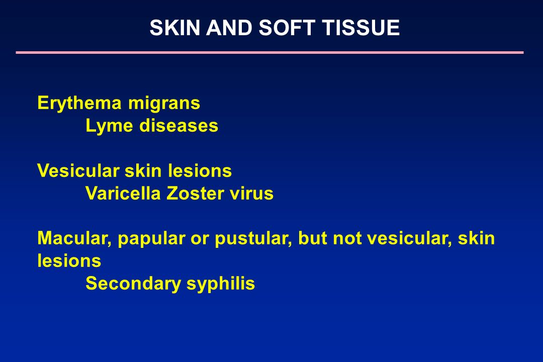 Vesicular skin lesions Varicella Zoster virus