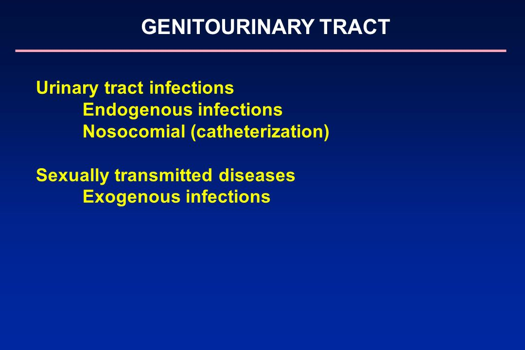 Urinary tract infections Endogenous infections