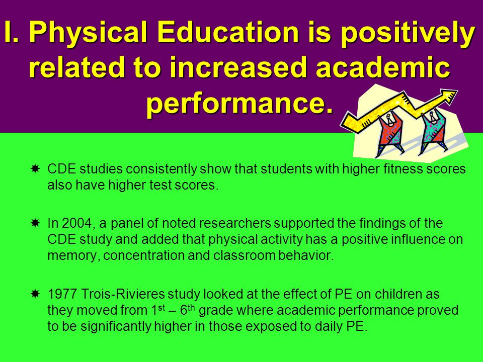 I. Physical Education is positively related to increased academic performance.