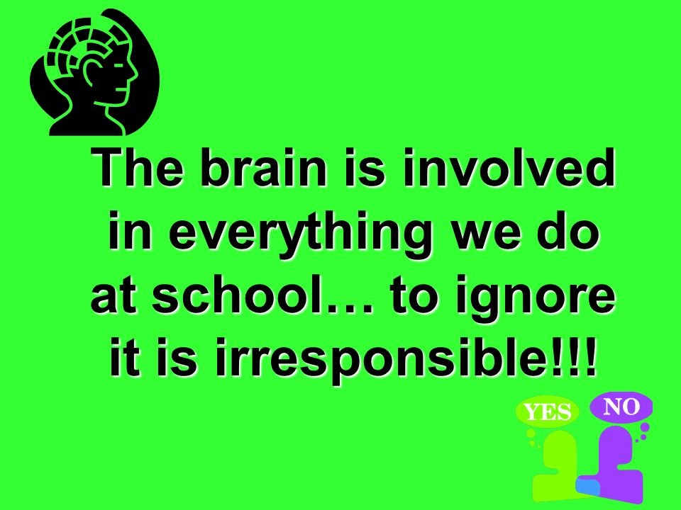 The brain is involved in everything we do at school… to ignore it is irresponsible!!!