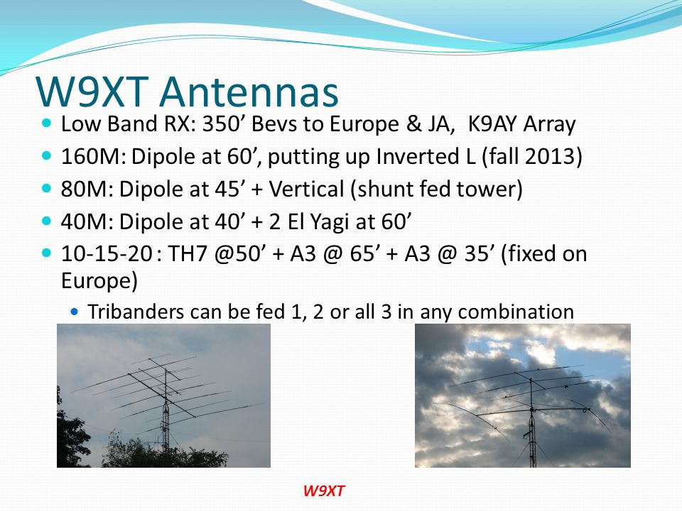 W9XT Antennas Low Band RX: 350' Bevs to Europe & JA, K9AY Array