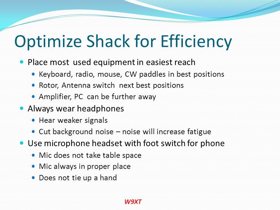 Optimize Shack for Efficiency