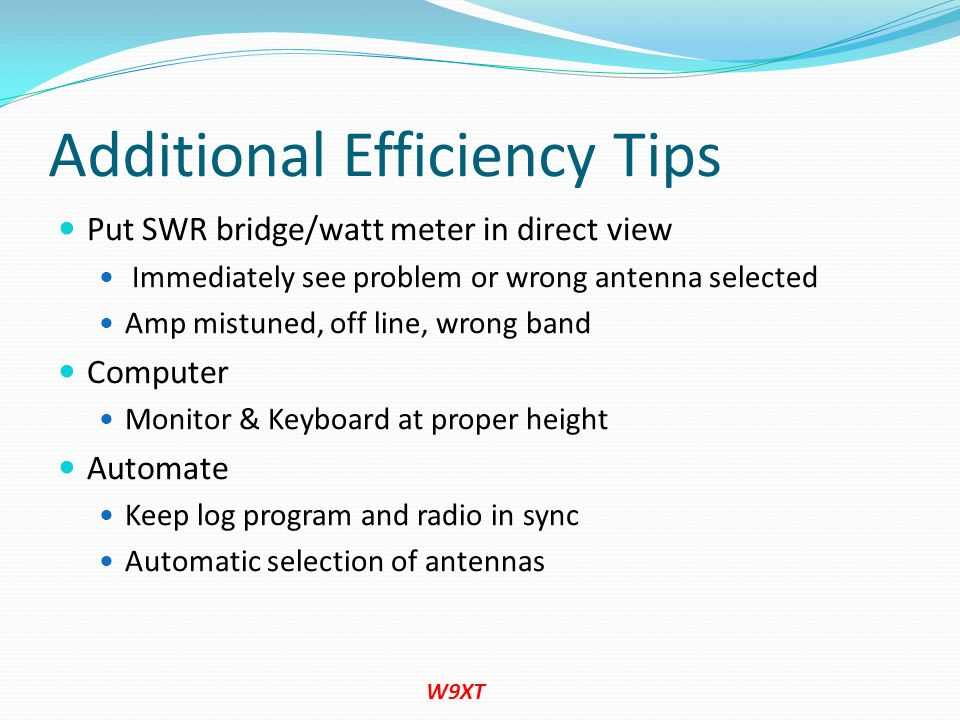 Additional Efficiency Tips