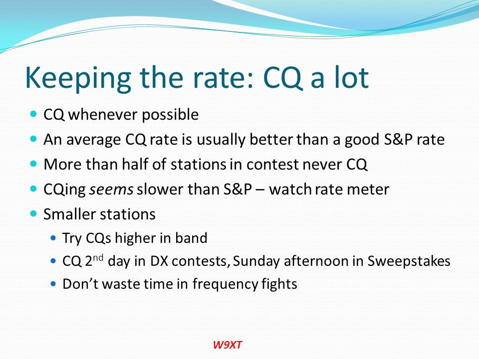 Keeping the rate: CQ a lot