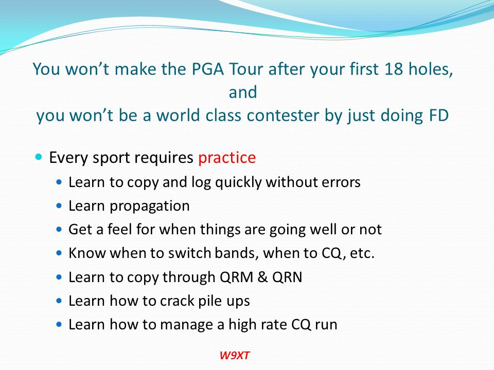 You won't make the PGA Tour after your first 18 holes, and you won't be a world class contester by just doing FD