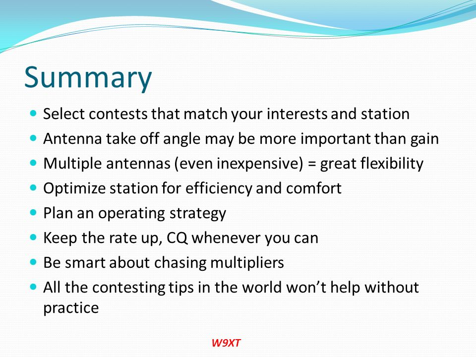 Summary Select contests that match your interests and station