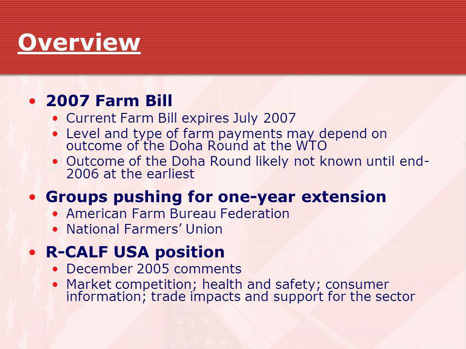 Overview 2007 Farm Bill Groups pushing for one-year extension