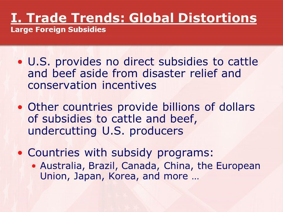 I. Trade Trends: Global Distortions Large Foreign Subsidies