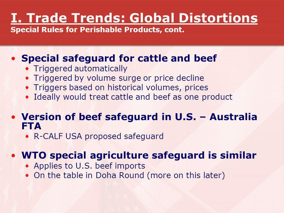 I. Trade Trends: Global Distortions Special Rules for Perishable Products, cont.