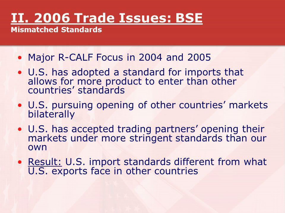 II. 2006 Trade Issues: BSE Mismatched Standards