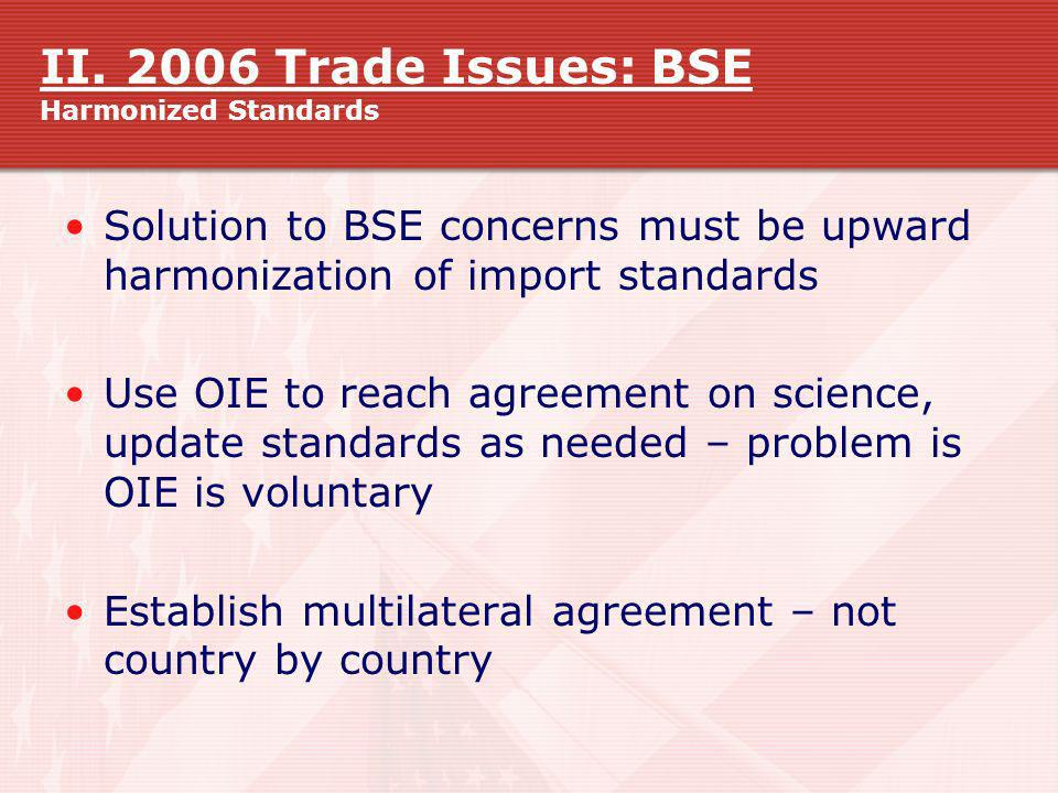 II. 2006 Trade Issues: BSE Harmonized Standards