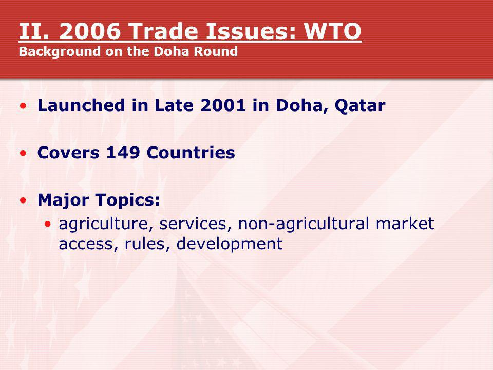 II. 2006 Trade Issues: WTO Background on the Doha Round
