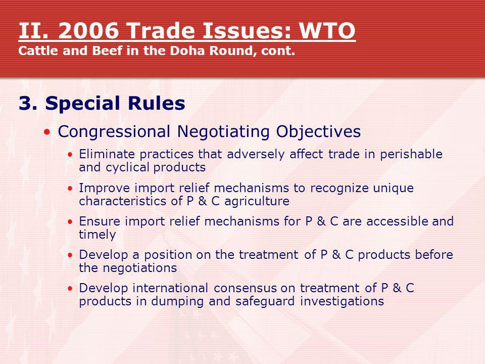 II. 2006 Trade Issues: WTO Cattle and Beef in the Doha Round, cont.