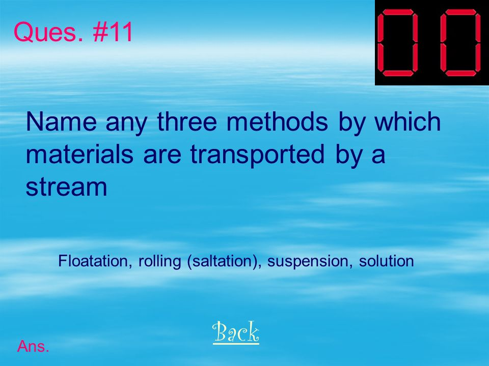 Name any three methods by which materials are transported by a stream