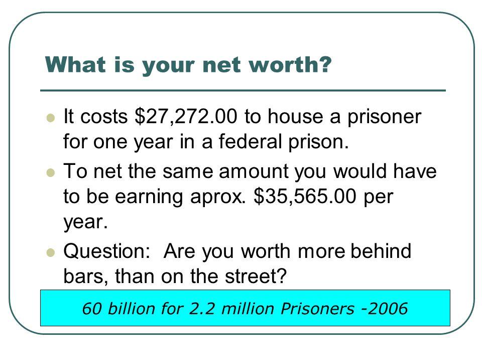 60 billion for 2.2 million Prisoners -2006