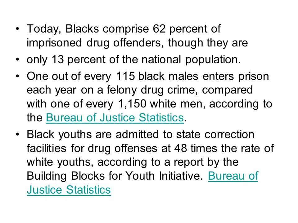 Today, Blacks comprise 62 percent of imprisoned drug offenders, though they are
