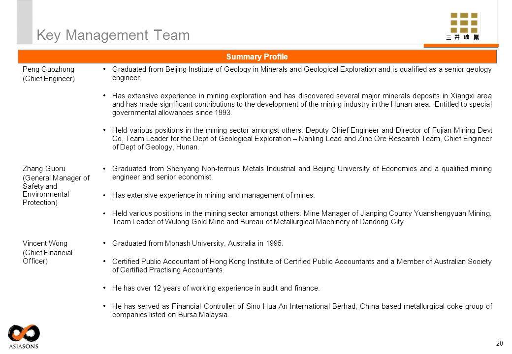 Key Management Team Summary Profile Peng Guozhong (Chief Engineer)