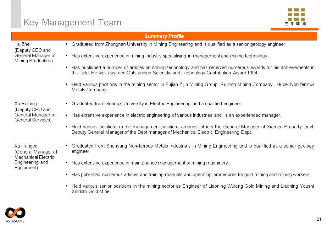 Key Management Team Summary Profile Hu Zhe