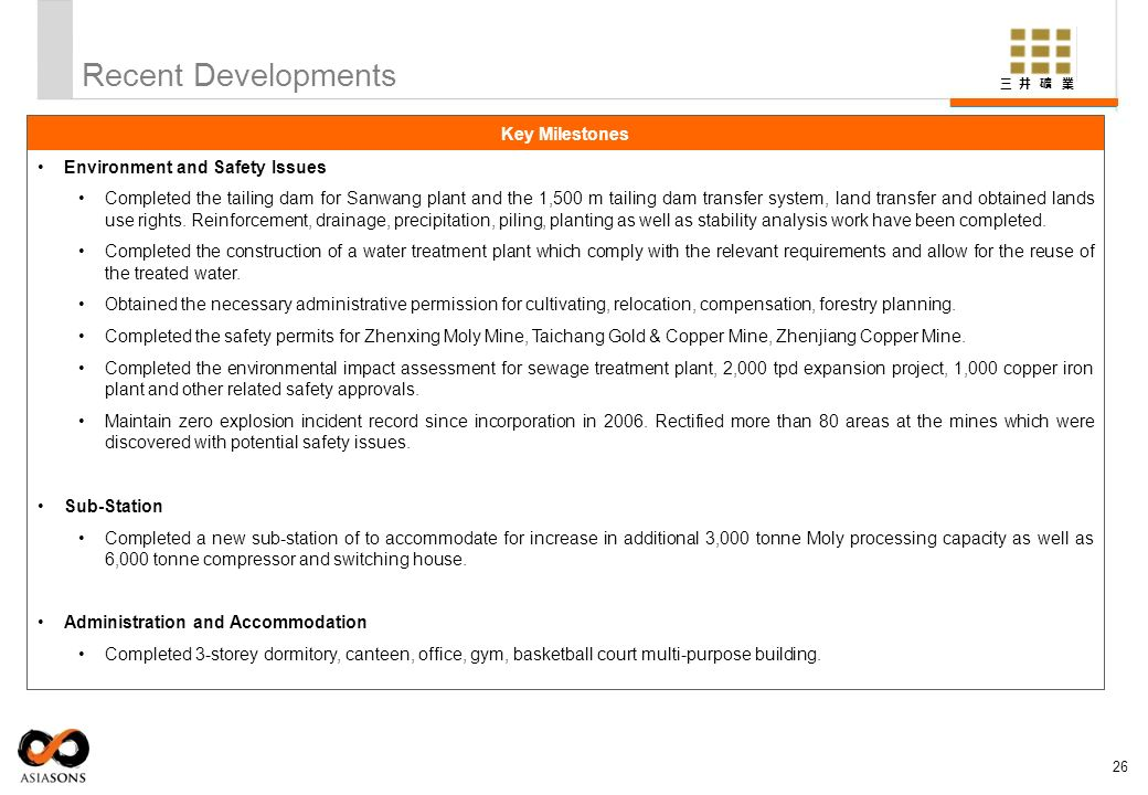 Recent Developments Key Milestones Environment and Safety Issues