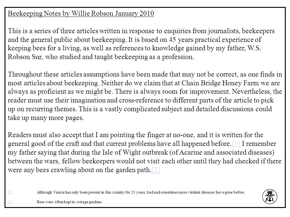 Beekeeping Notes by Willie Robson January 2010