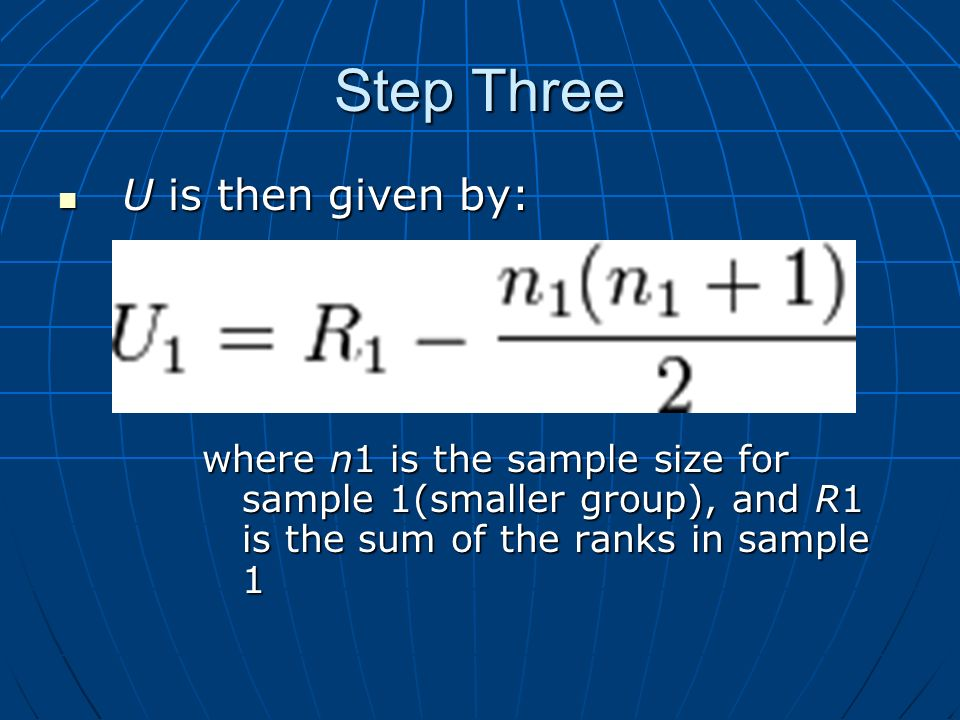 Step Three U is then given by: