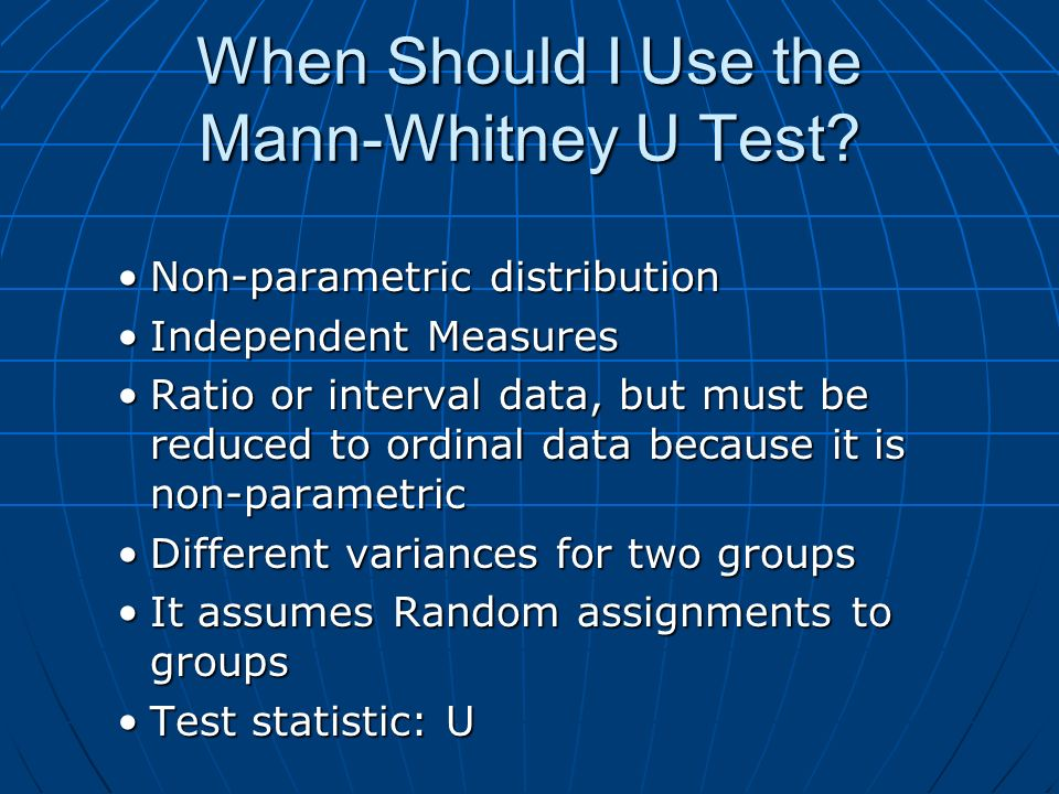 When Should I Use the Mann-Whitney U Test