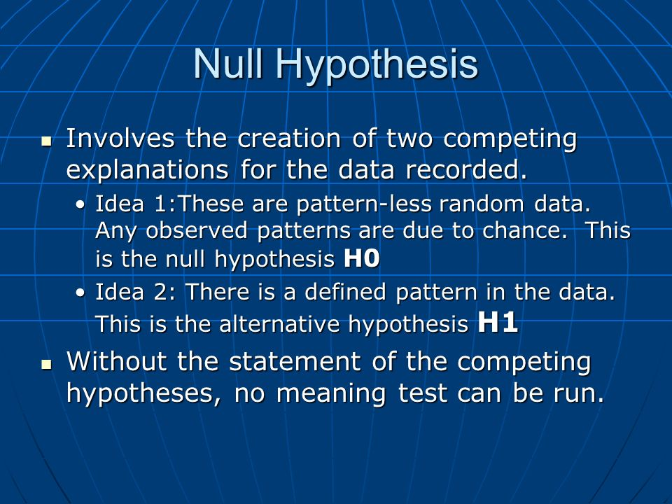 Null Hypothesis Involves the creation of two competing explanations for the data recorded.