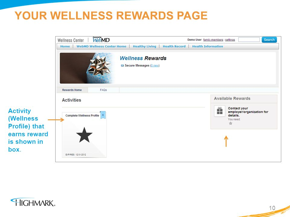 YOUR WELLNESS REWARDS PAGE