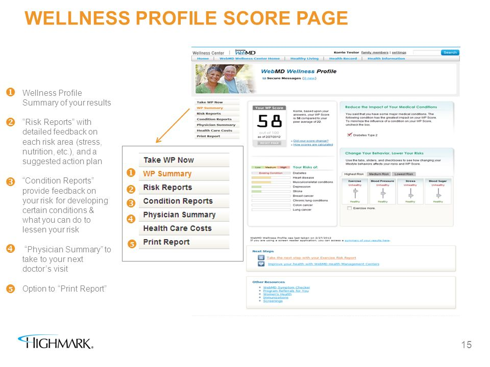 WELLNESS PROFILE SCORE PAGE