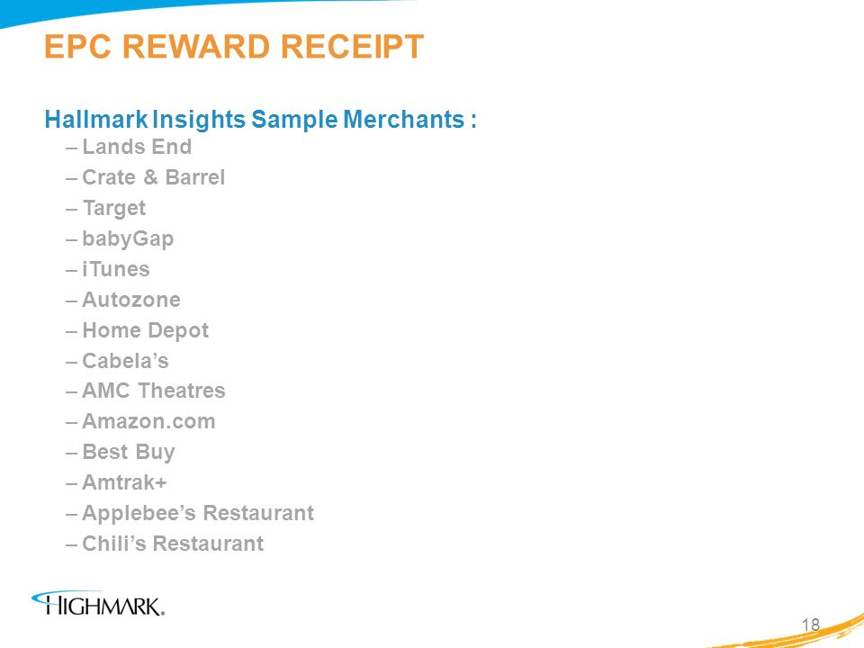 EPC REWARD RECEIPT Hallmark Insights Sample Merchants : Lands End