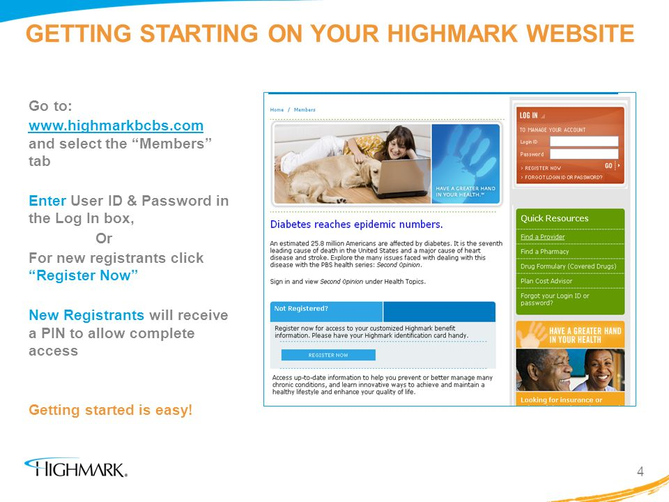 GETTING STARTING ON YOUR HIGHMARK WEBSITE