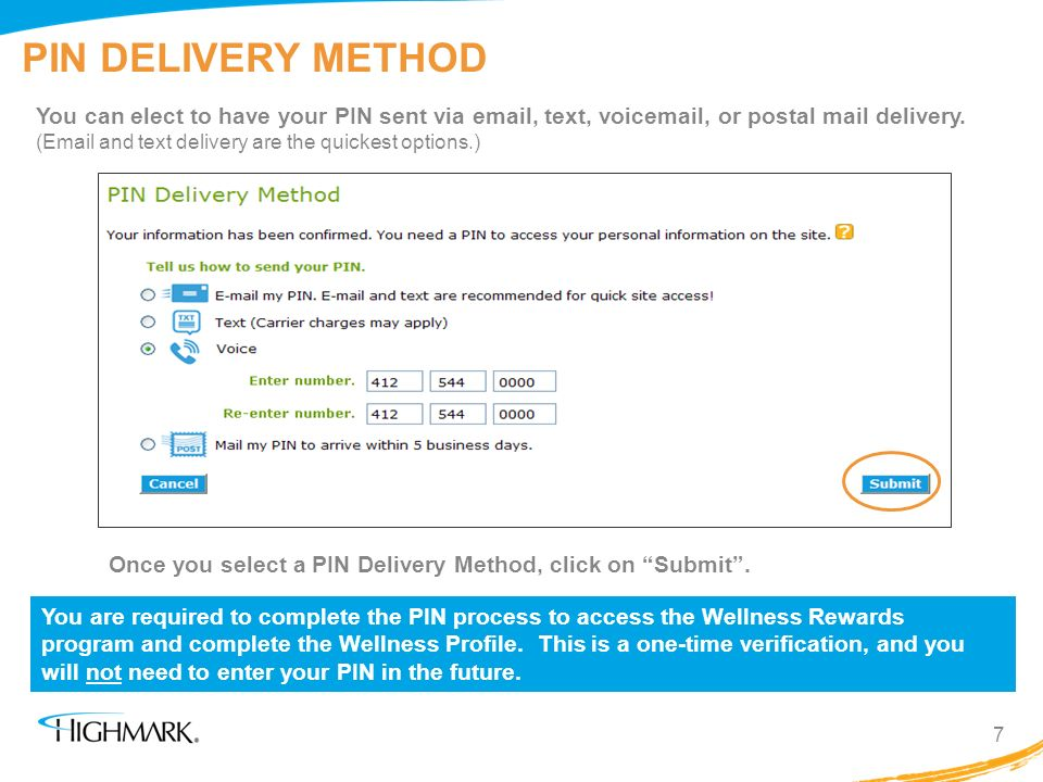 PIN DELIVERY METHOD
