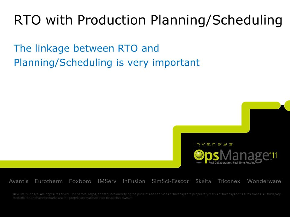 RTO with Production Planning/Scheduling The linkage between RTO and Planning/Scheduling is very important