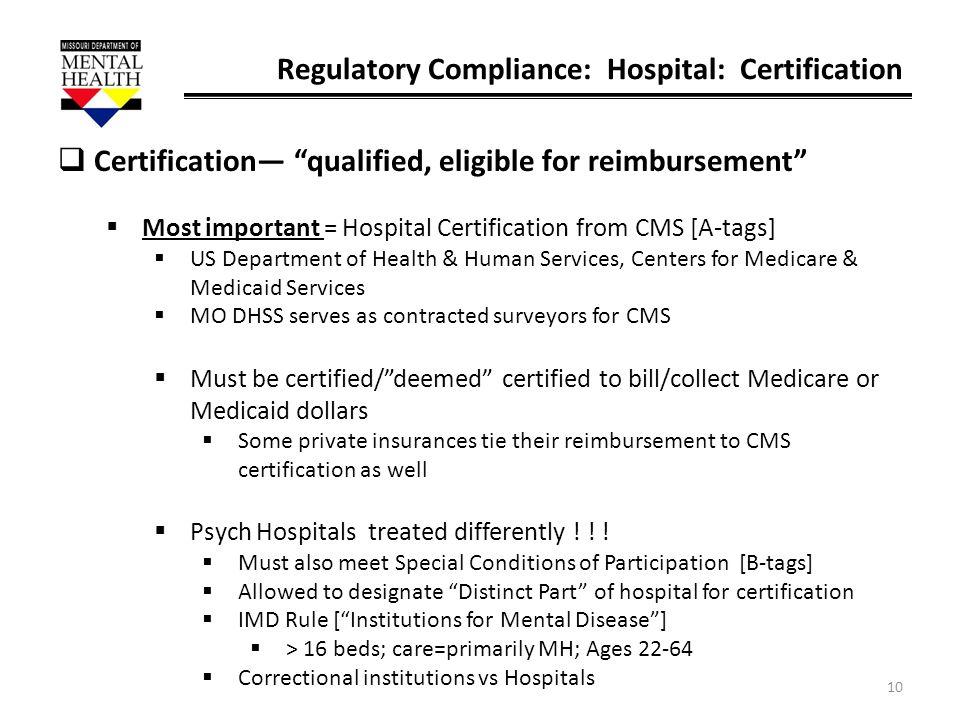 Regulatory Compliance: Hospital: Certification