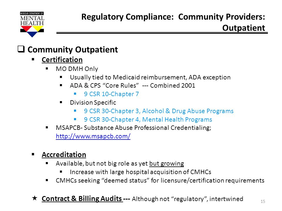 Regulatory Compliance: Community Providers: Outpatient