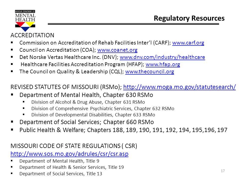 Regulatory Resources ACCREDITATION
