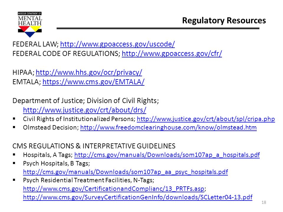 Regulatory Resources FEDERAL LAW; http://www.gpoaccess.gov/uscode/
