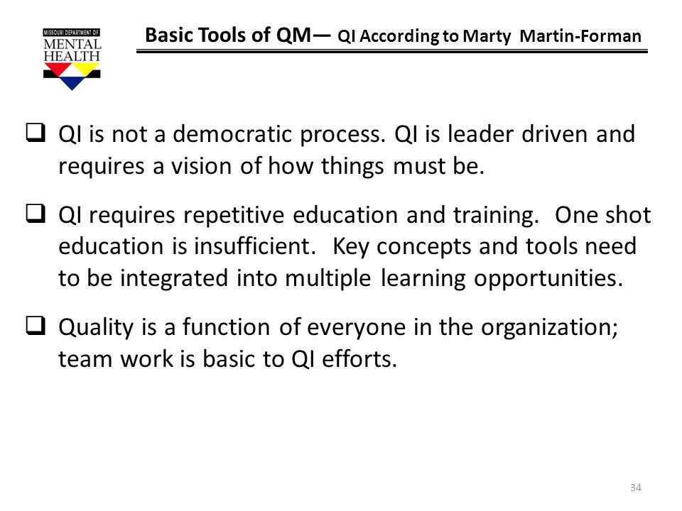 Basic Tools of QM— QI According to Marty Martin-Forman