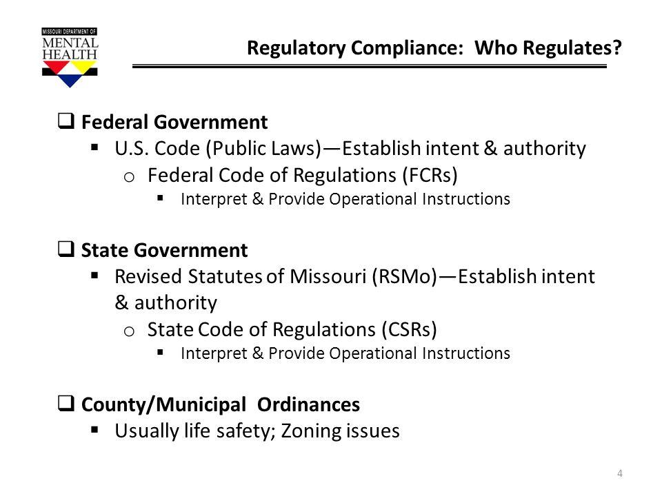 Regulatory Compliance: Who Regulates