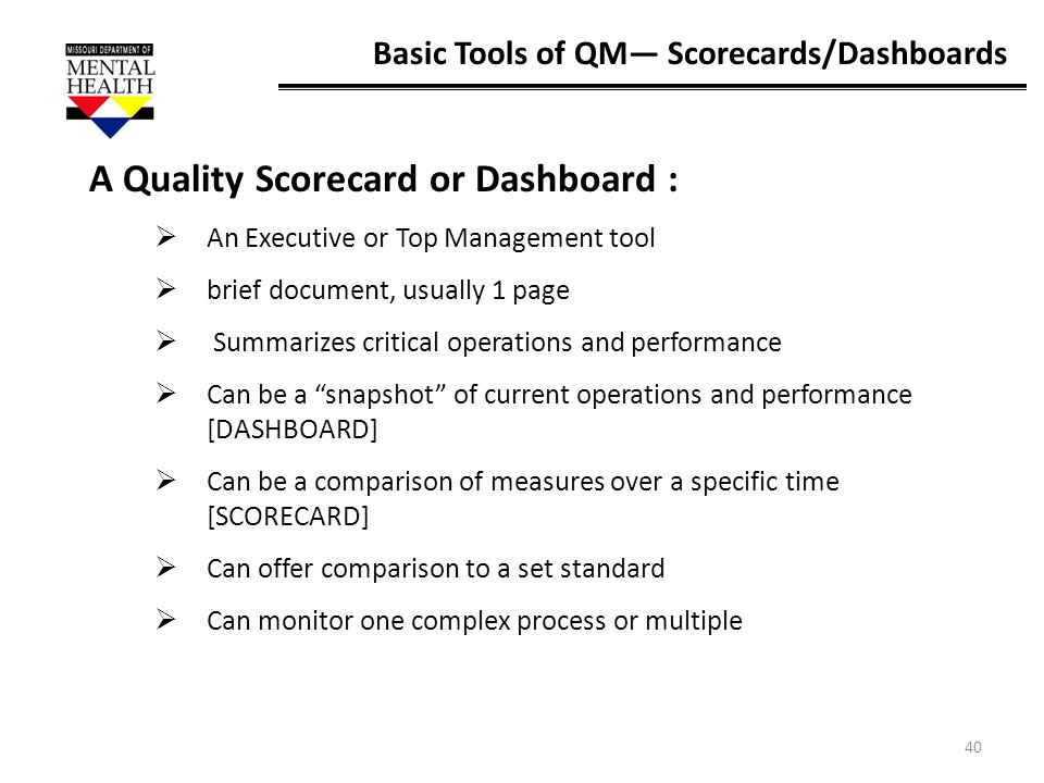 A Quality Scorecard or Dashboard :