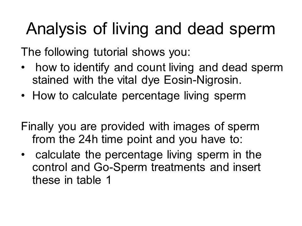 Analysis of living and dead sperm