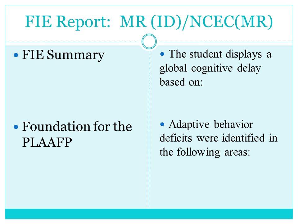 FIE Report: MR (ID)/NCEC(MR)